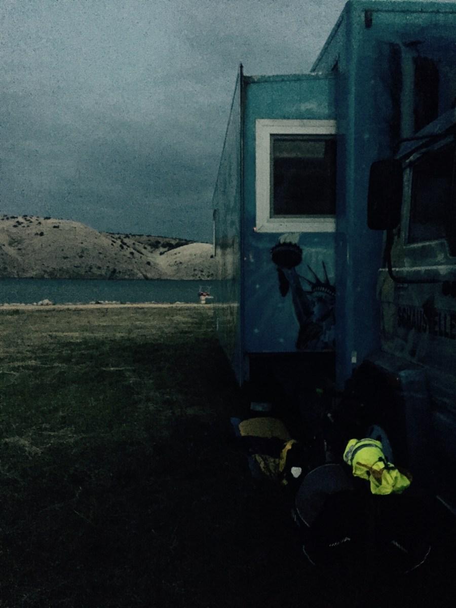Sleeping under a lorry, Rab Croatia