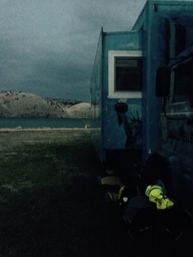 Sleeping under a lorry, Rab Croatia