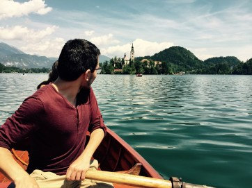 Enrique rowing on lake Bled, Slovenia
