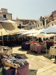 Lavender market in Dubrovnik old town, Croatia