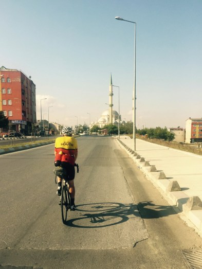 Gareth Bains and Mosque riding towards Istanbul, Turkey