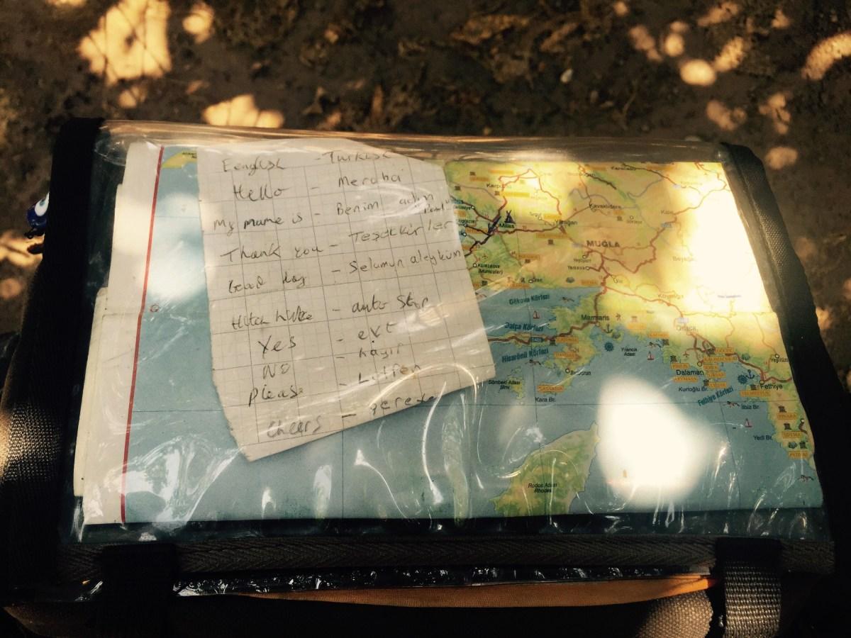 Turkish language notes by map on barbag