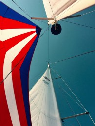 Colourful cruising mizzen chute