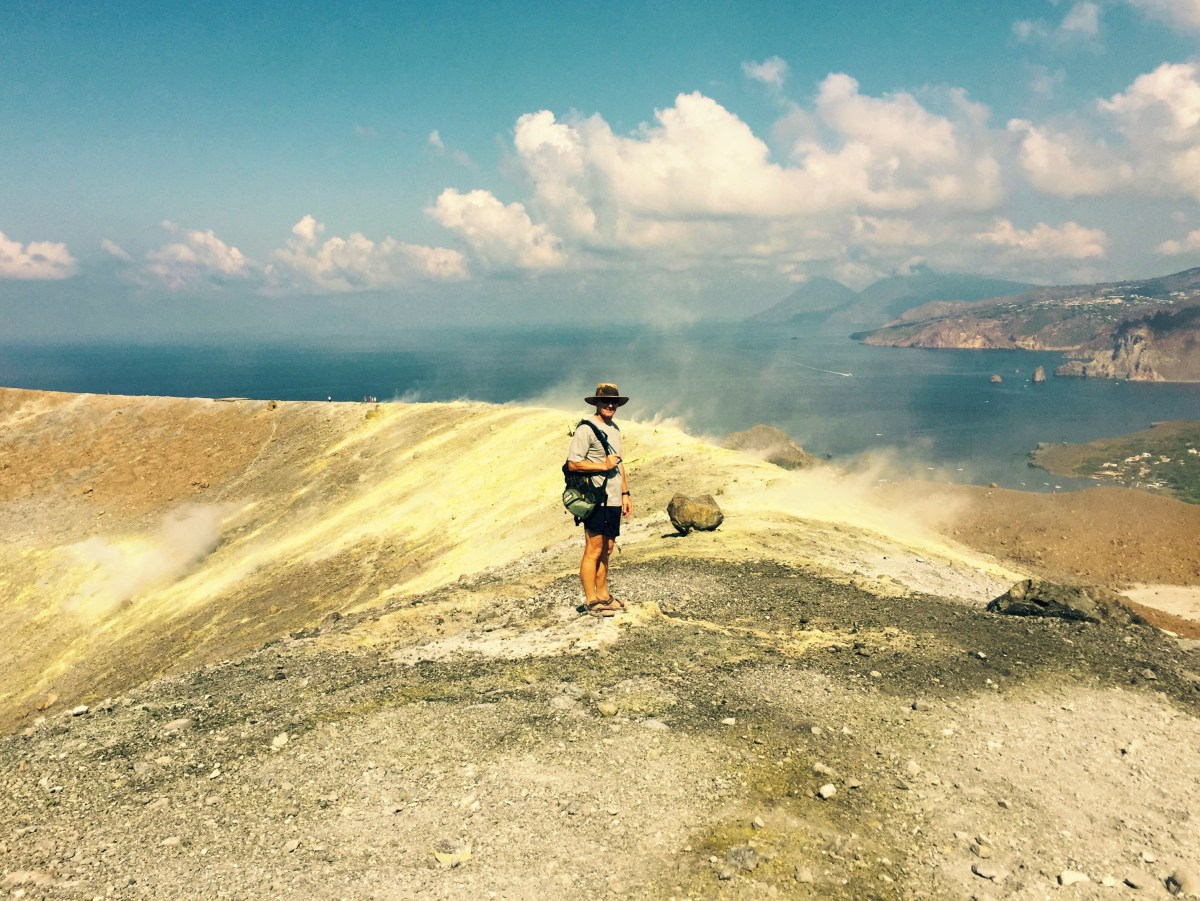Chris about to step into the sulfur vents of Vulcano, Italy
