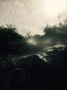 Roadside waterfall shower, Cycling the BR-101, Brazil