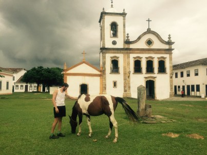 Paraty church with horse, Cycling the BR-101, Brazil