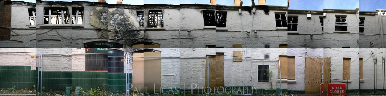 Uncle Henry's after the fire, Newbury Berkshire collage