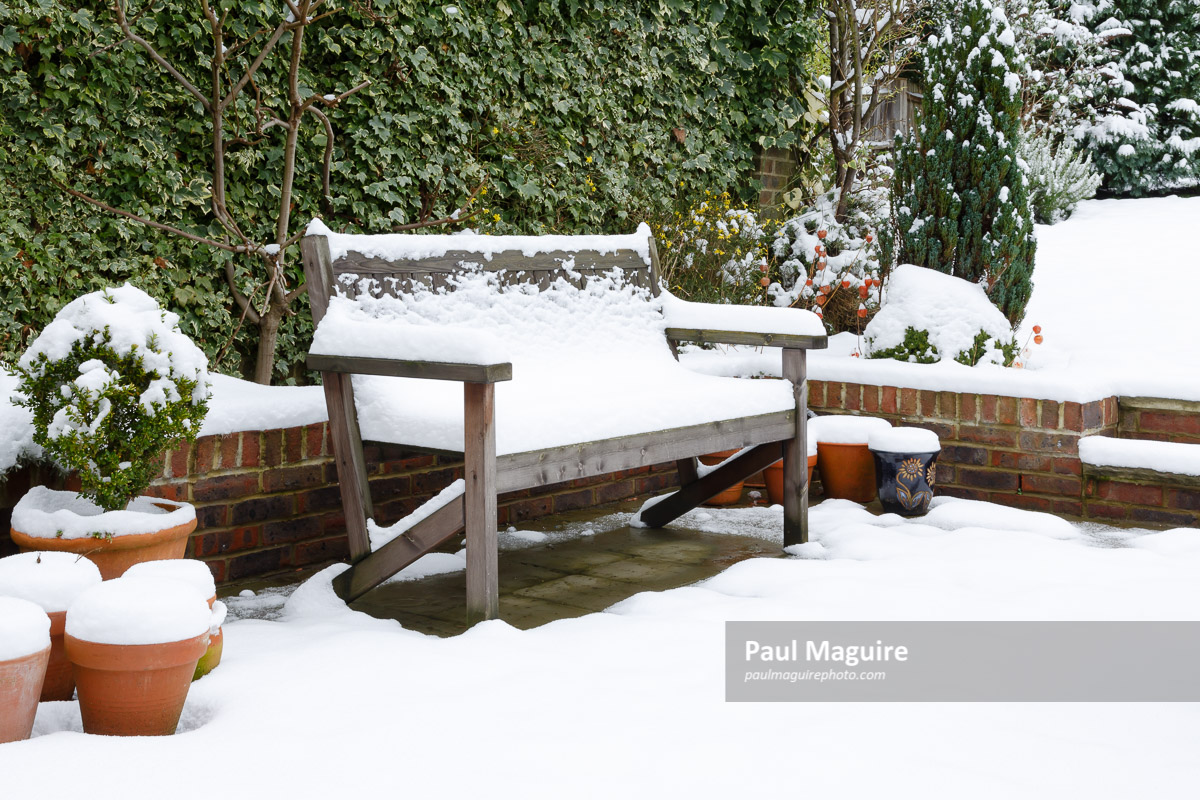 buy a photo garden patio bench with snow paul maguire