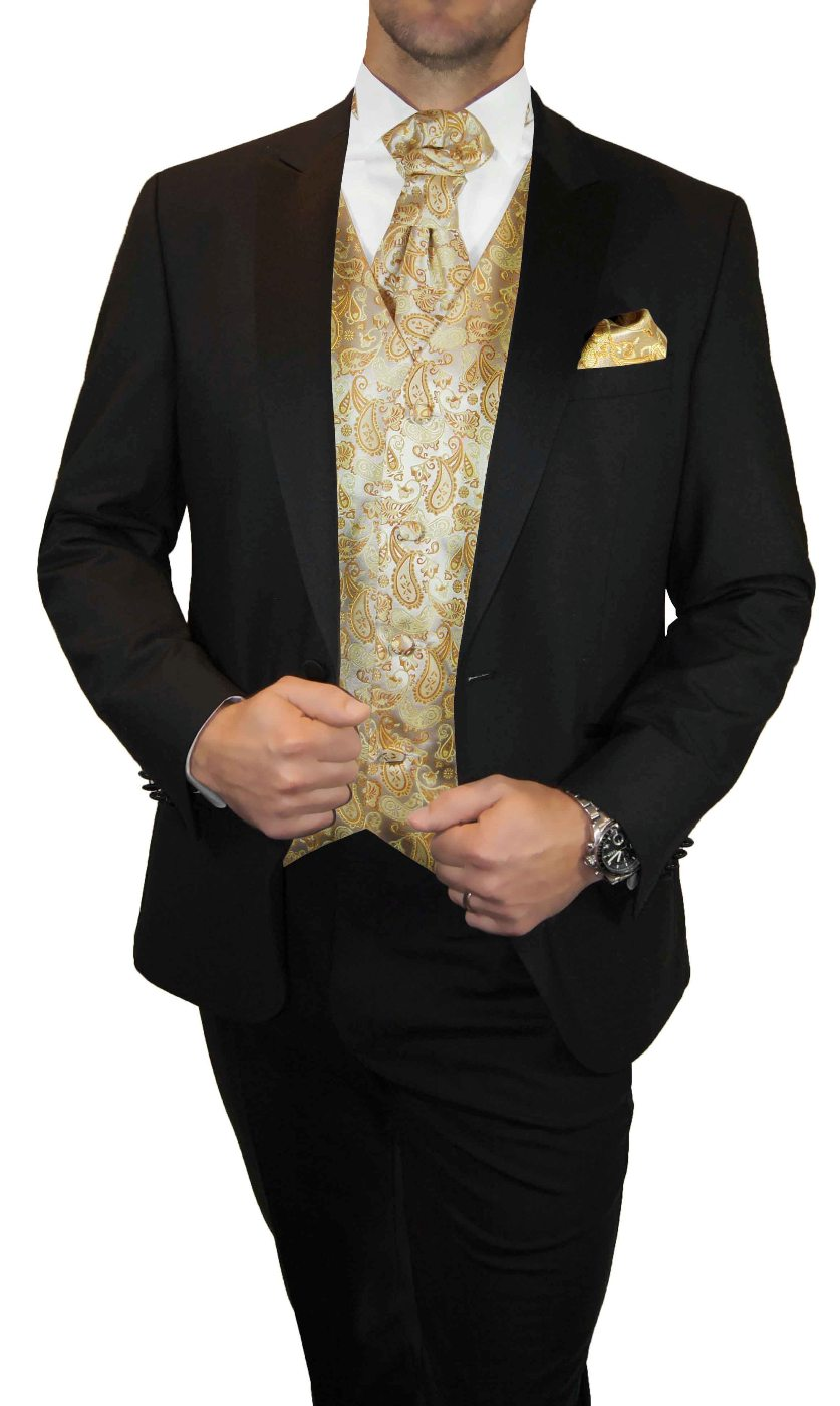 Black And Gold Suit : black, Wedding, Tuxedo, Black, Incl., Paisley, Malone