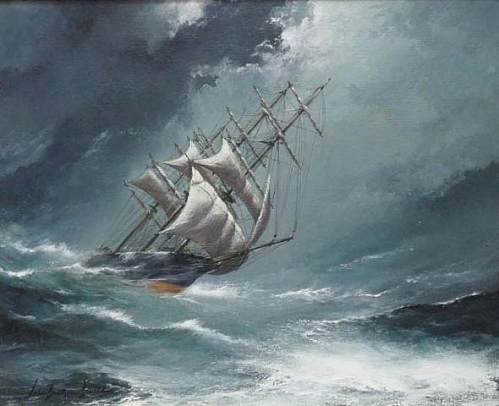 John Bentham-Dinsdale - US Clipper ship Occidental in a storm off Cape Flattery