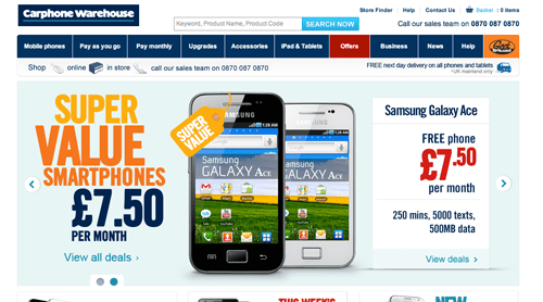 Carphone Warehouse Ecommerce Website