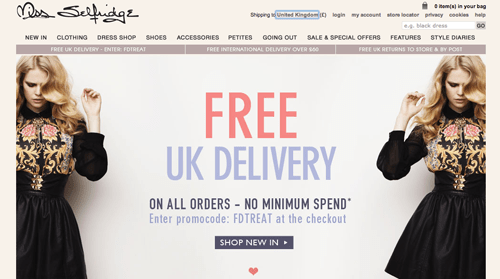 Miss Selfridge Ecommerce Website