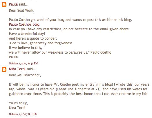 Five Years in Paulo Coelho's blog