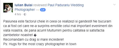 recenzie Paul Padurariu fotograf nunta Iasi - Iulian Bulai