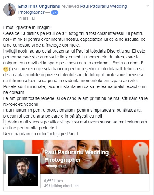 recenzie Paul Padurariu fotograf nunta Iasi - Ema Irina Ungurianu