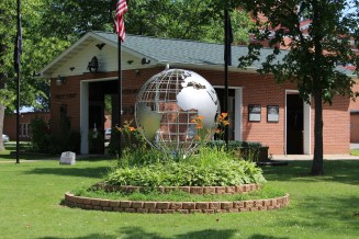 Veteran's Memorial globe sculpture