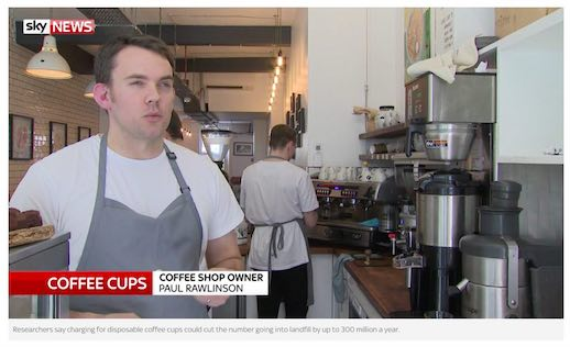 Paul talking about coffee cup waste on Sky News