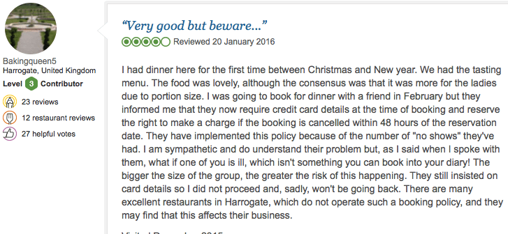 Screenshot of TripAdvisor review talking about Norse now requiring credit card details to book a table