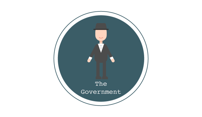 Illustration of a member of government as part the discussion around tipping in UK restaurants