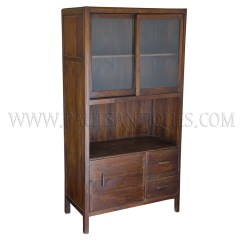 Teak Kitchen Cabinets Cheap Extractor Fan Colonial Burmese Art Deco And Glass Cabinet