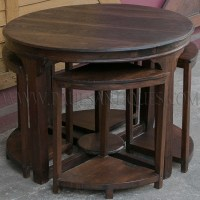 Round Burmese Teak Art-Deco Center Table with Small Side ...