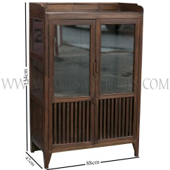 Teak Kitchen Cabinets Cheap Table And Chairs Old Thai Cabinet Meatsafe With Glass Doors