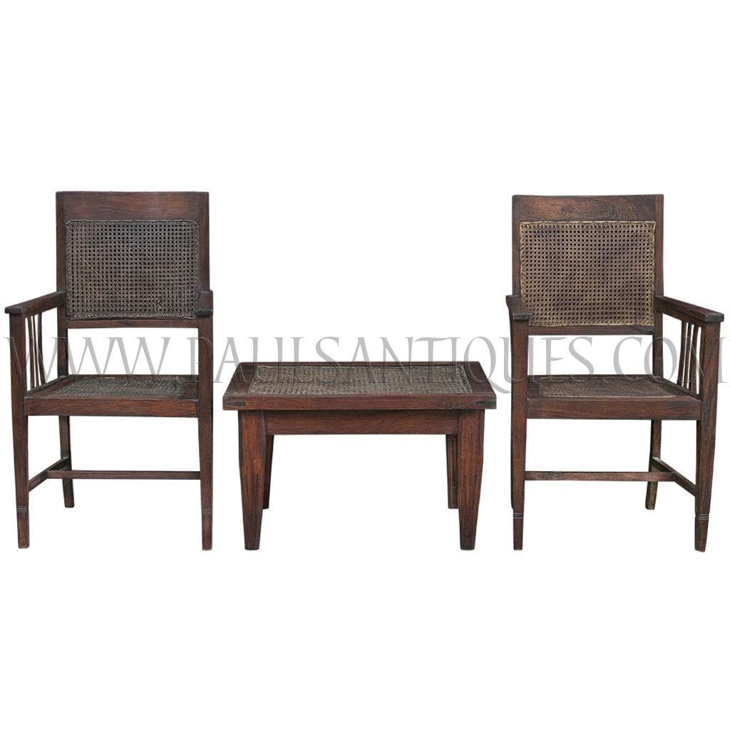 coffee table with chairs dark brown dining old thai teak and rattan arm set