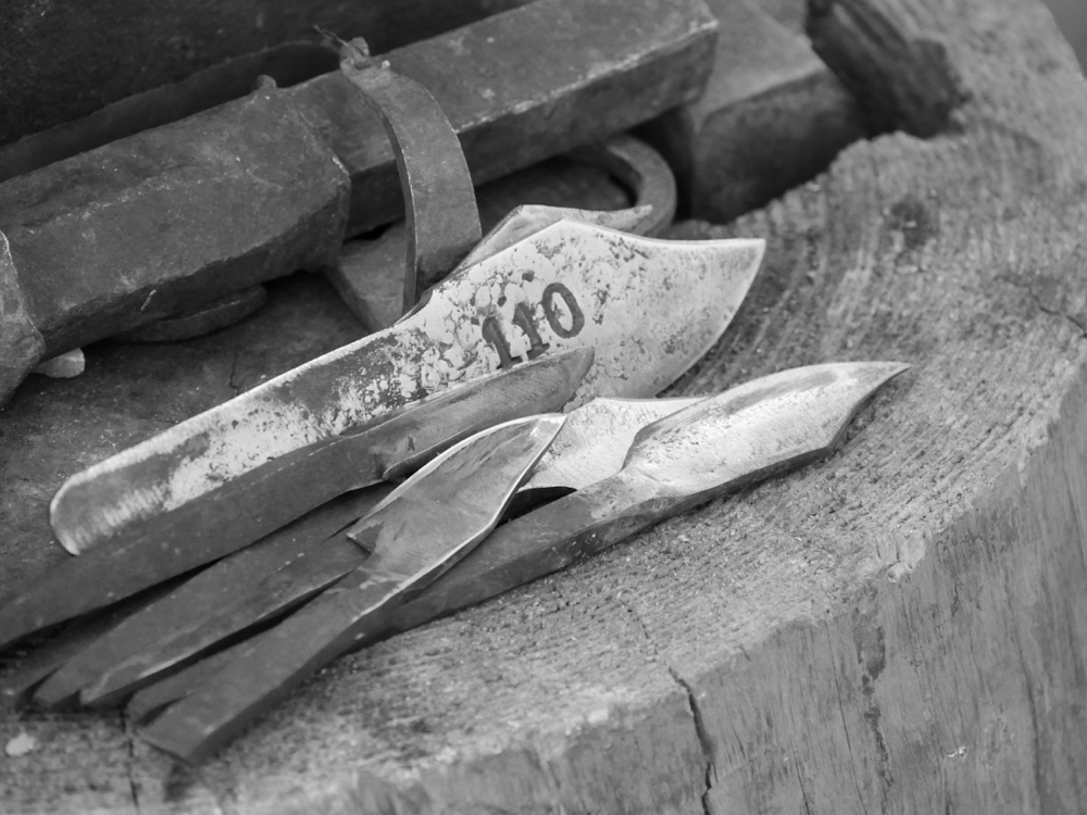 Knife blades from a coil of steel.