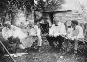 The Vagabonds: From left to right: Henry Ford, Thomas Edison, Warren G. Harding, Harvey Firestone