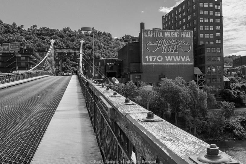 Old bridge crossing the Ohio River in Wheeling WV