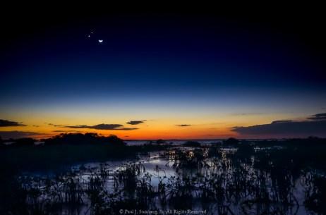 Mars, Venus and the Moon over Big Torch Creek