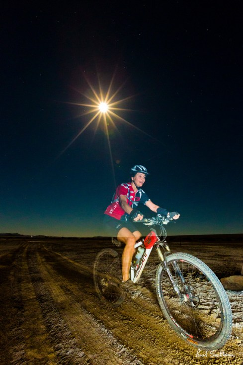 Moonlight is the chosen form of illumination for many of the riders on the Desert Knights cycle event.