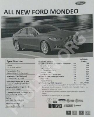 mondeo price spec sheet 1