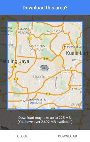 Google Maps now supports offline navigation in M'sia