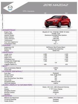 2016 Mazda 2 spec sheet 1