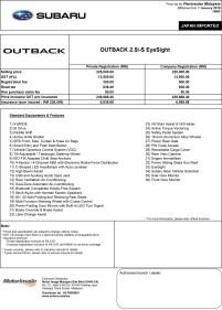 2018 Subaru Outback 2.5i-S EyeSight tentative price list