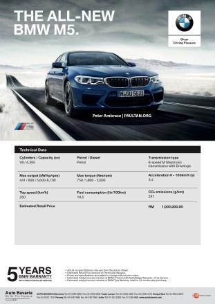 F90 BMW Spec Sheet