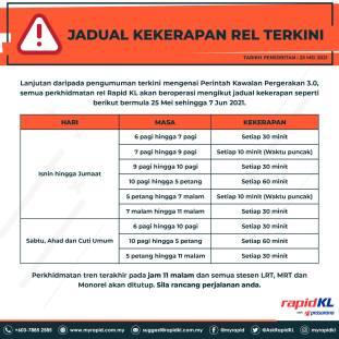 Rapid KL May25 Train Schedule