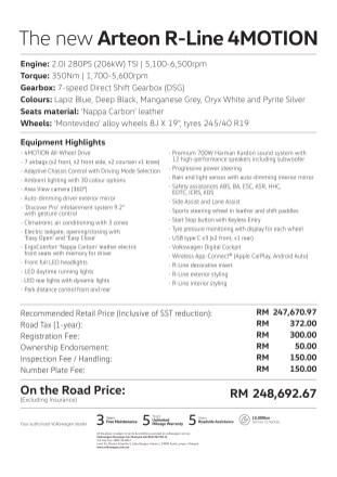 Volkswagen Arteon R-Line 2.0 TSI 4Motion price list 2