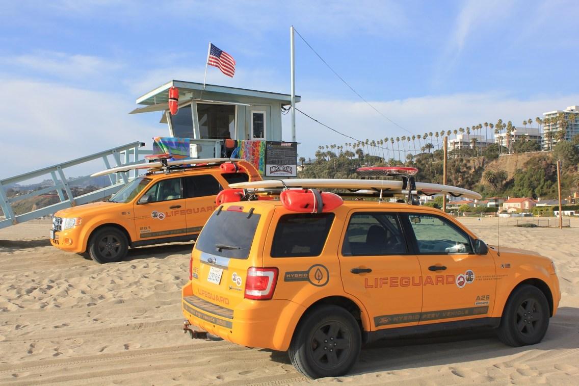 Lifeguard cars at Santa Monica beach