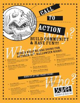 CALL TO ACTION: Informational flyer for Halloween community events at the Southwest University of Visual Arts.