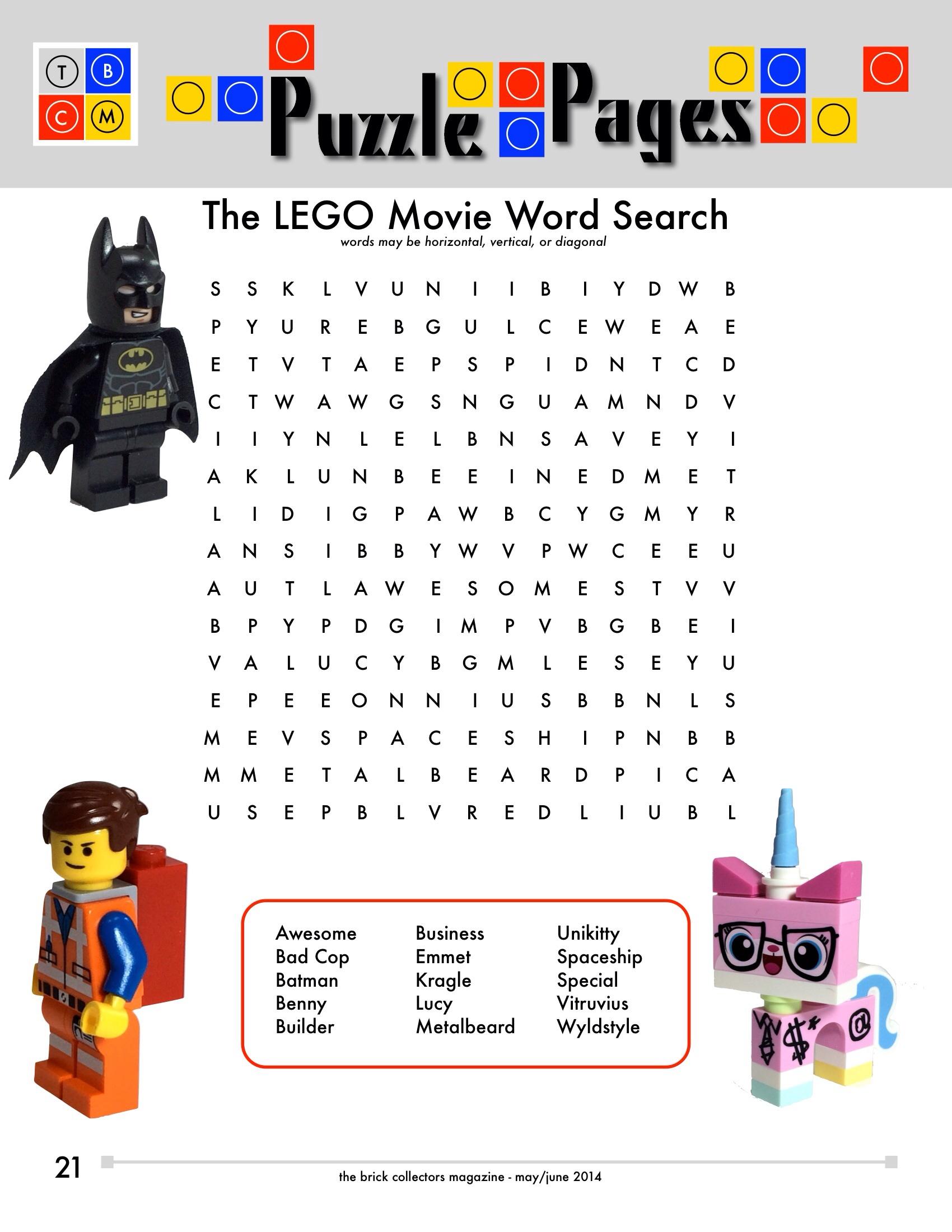 Lego Movie Word Search Legohd