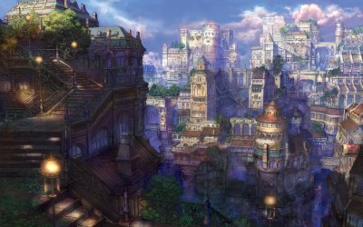anime town wallpapers castle dark background backgrounds fairyland wallpaperaccess hipwallpaper