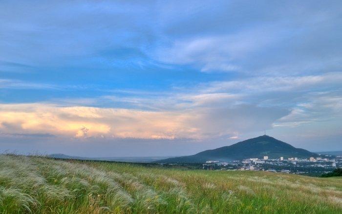 Ковыль у подножия Бештау, вид на Пятигорск