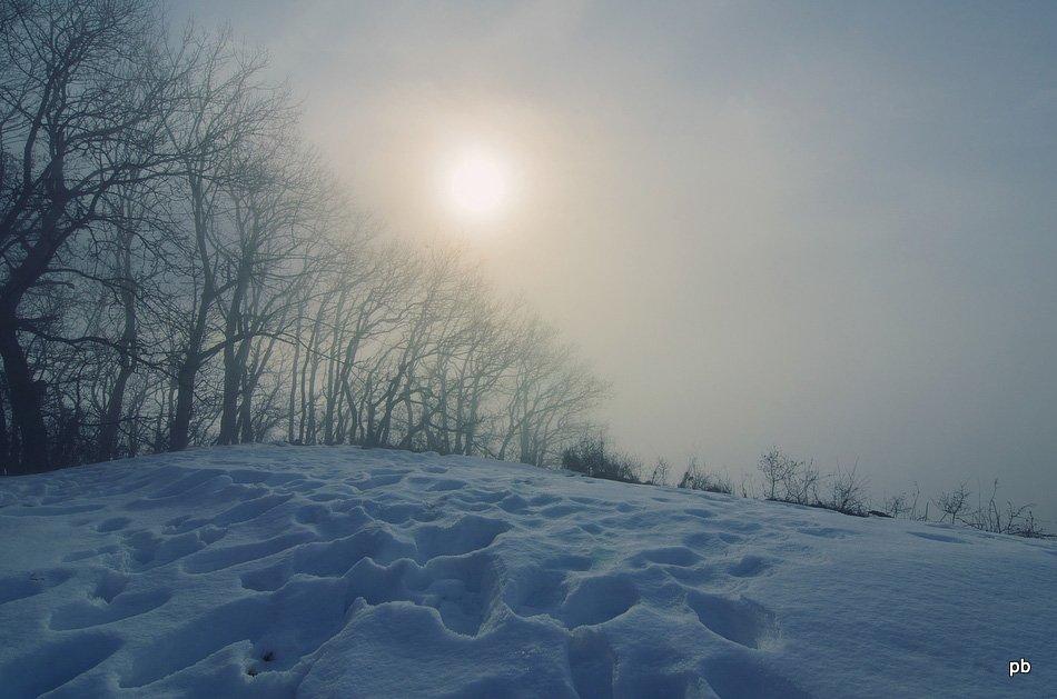 Солнце сквозь туман на Машуке