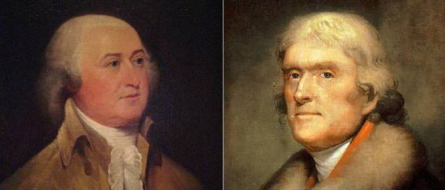 Left to right, President John Adams and Vice President Thomas Jefferson, in office 1797-1801