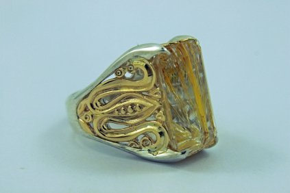 GOLDEN YELLOW - 14k Yellow Gold, Sterling Silver, and Rutilated Quartz