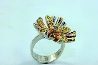 SUNBURST FLOWER Champagne, Yellow, and Green Diamonds,14k Yellow Gold, and Sterling Silver Ring3