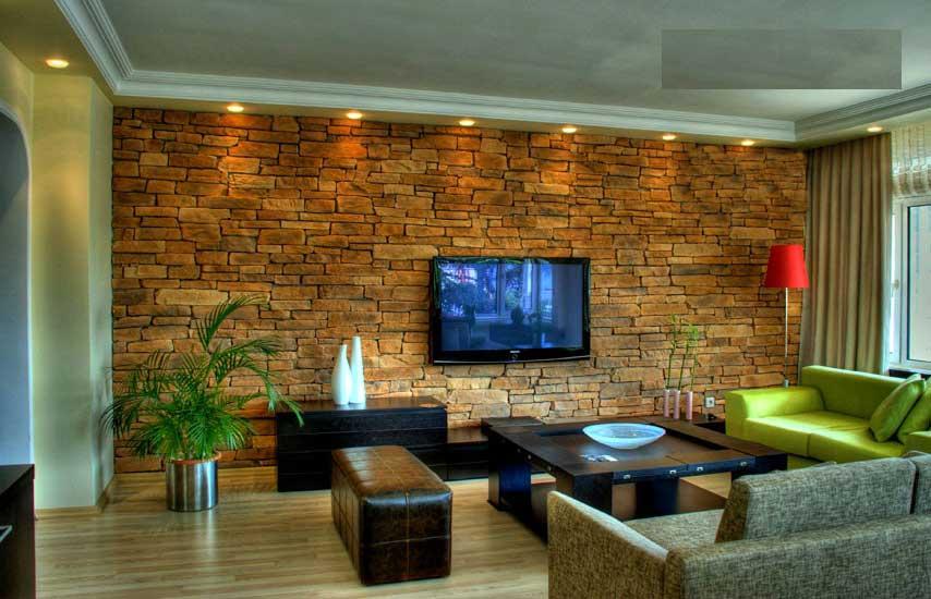 Pareti in pietra trasformano il risultato dell'interior design di un soggiorno zona living arricchita dalle forme irregolari ambienti raffinati e unici. Immagini Rivestimento Pietra Stampata E Pietra Ricostruita