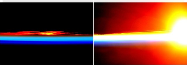 Kelijev foto-tvit magičnog zalaska Sunca 13. Januara (slika levo) i njegovog istovremenog izlaska na drugoj strani planete (slika desno). Foto: Scott Kelly/ NASA
